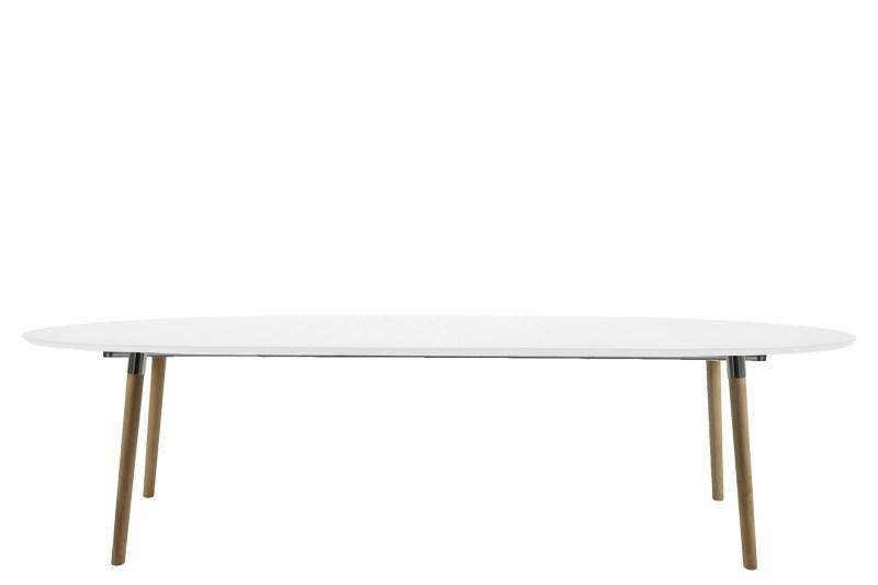 Eetkamertafel Belle 170/270 x 100 cm wit/hout