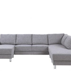 Bank Everton met chaise longue links - lichtgrijs