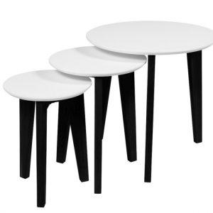 Bijzettafel Abel wit/zwart - set van 3