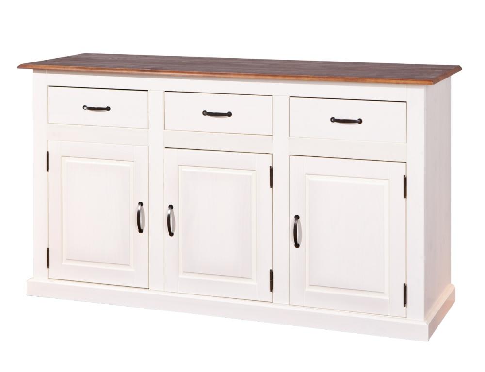 Dressoir Cassala 3 deuren wit/bruin