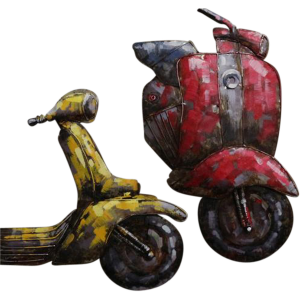 Metalen wandobject 2 Scooters